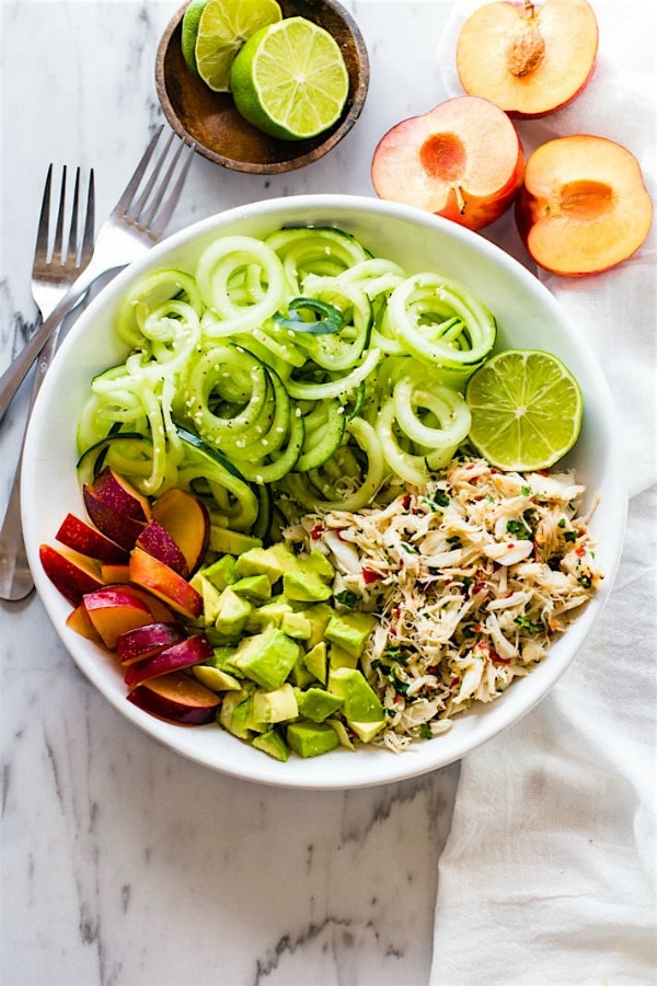 spiralized cucumber salad with crab and avocado