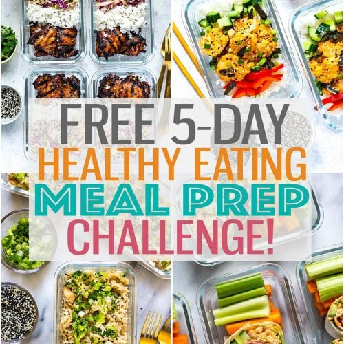 Get started with meal prep and meal planning with this Healthy Eating Challenge! This free 5-day email series includes free printable PDFs and will walk you through the quickest meal prep process so you can save time and money #mealprep #healthyeatingchallenge #cleaneating