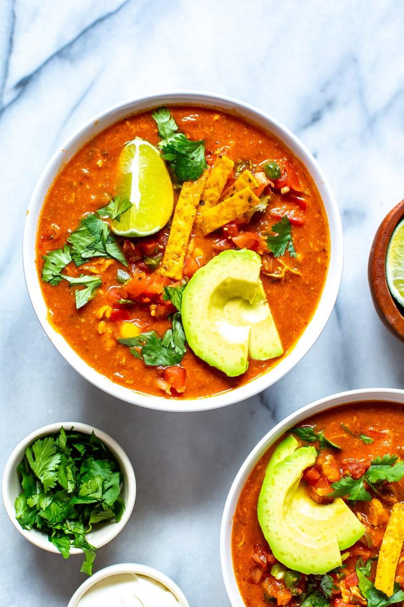 homemade version of Chili's Chicken Enchilada Soup recipe