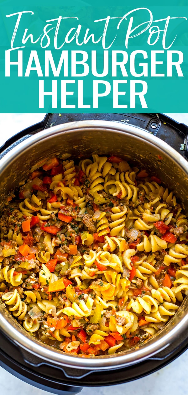 This Healthier Instant Pot Homemade Hamburger Helper is a delicious one-pot spin off on one of your favourite childhood meals. Make it in the pressure cooker or the stovetop, there are instructions listed for both methods! #instantpot #hamburgerhelper