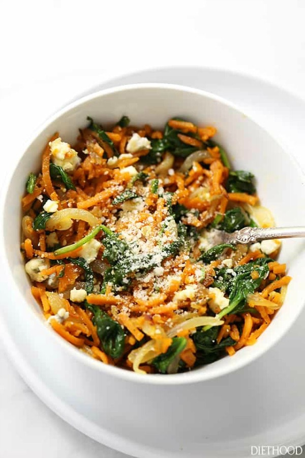 sweet potato noodles with spinach and Parmesan cheese