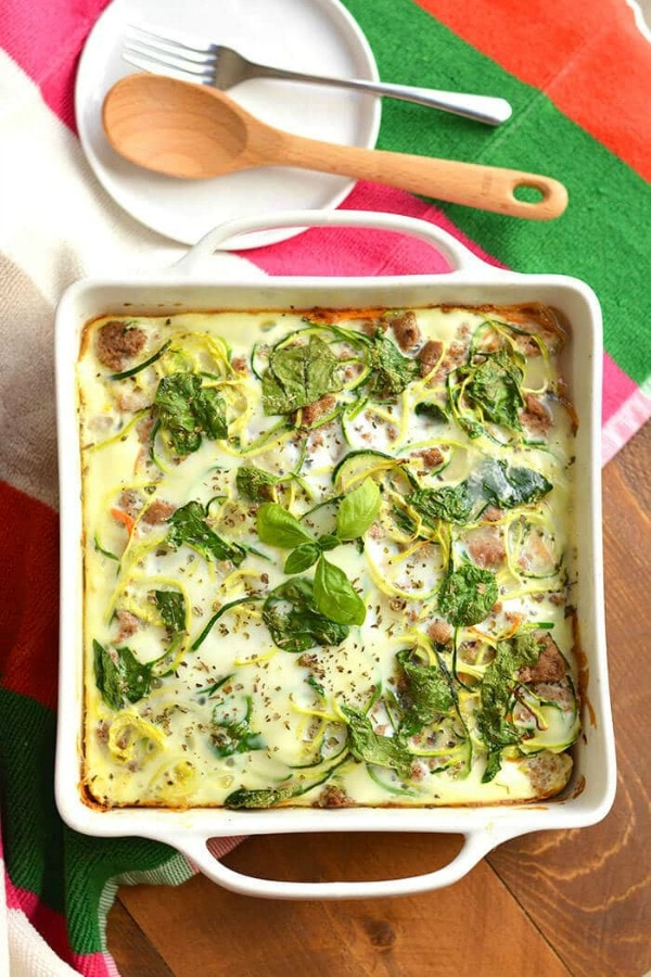 spiralized vegetables breakfast casserole