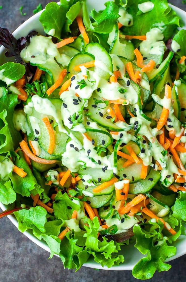 spiralized cucumber salad with wasabi cucumber avocado dressing