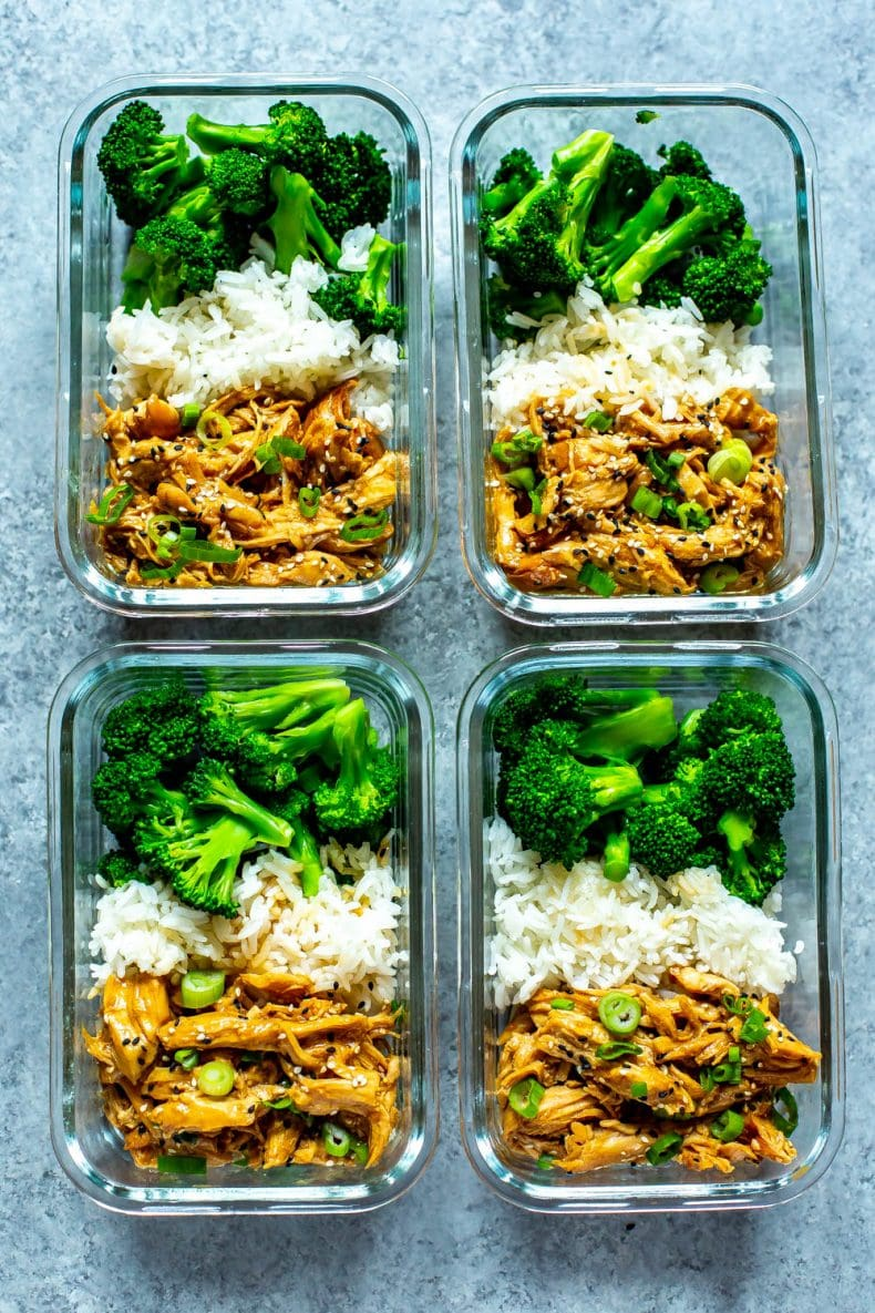 slow cooker Chicken Teriyaki in 4 meal prep containers