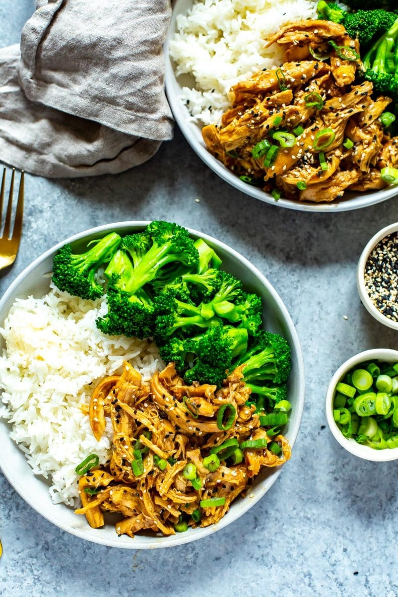 Asian dinner of Teriyaki chicken with white rice and steamed broccoli