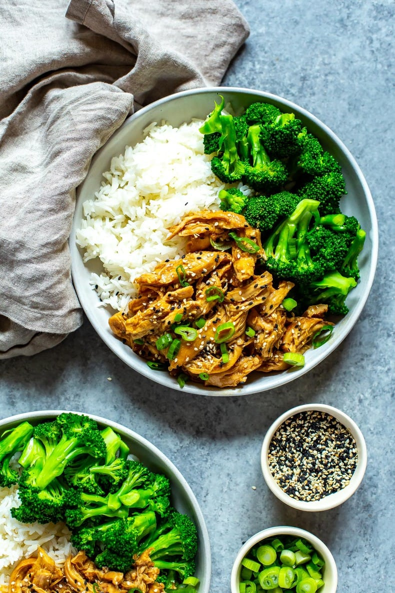 5-Ingredient Chicken Teriyaki on round plate with white rice and broccoli