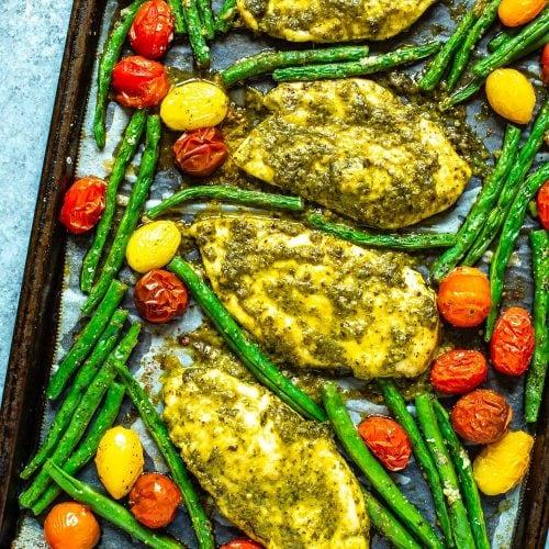 2-Ingredient Baked Pesto Chicken