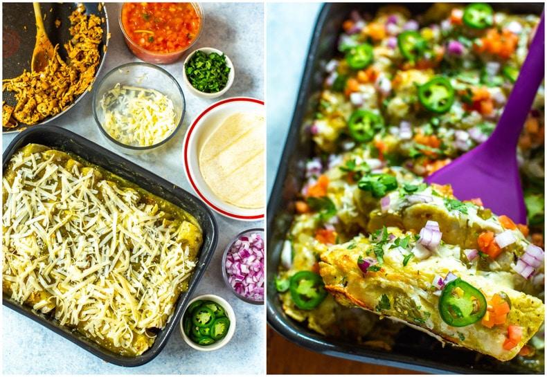 photo collage shows assembling enchiladas and baked enchiladas verdes