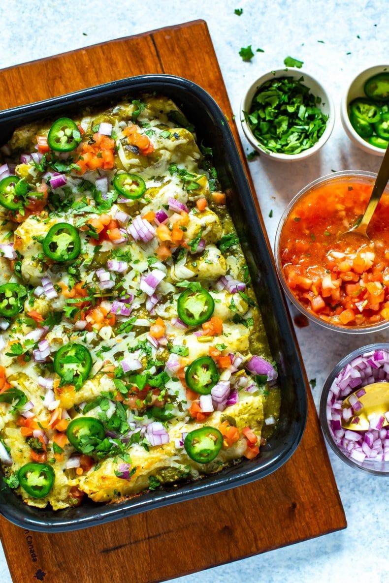 Meal Prep Chicken Enchiladas Verdes in a baking dish