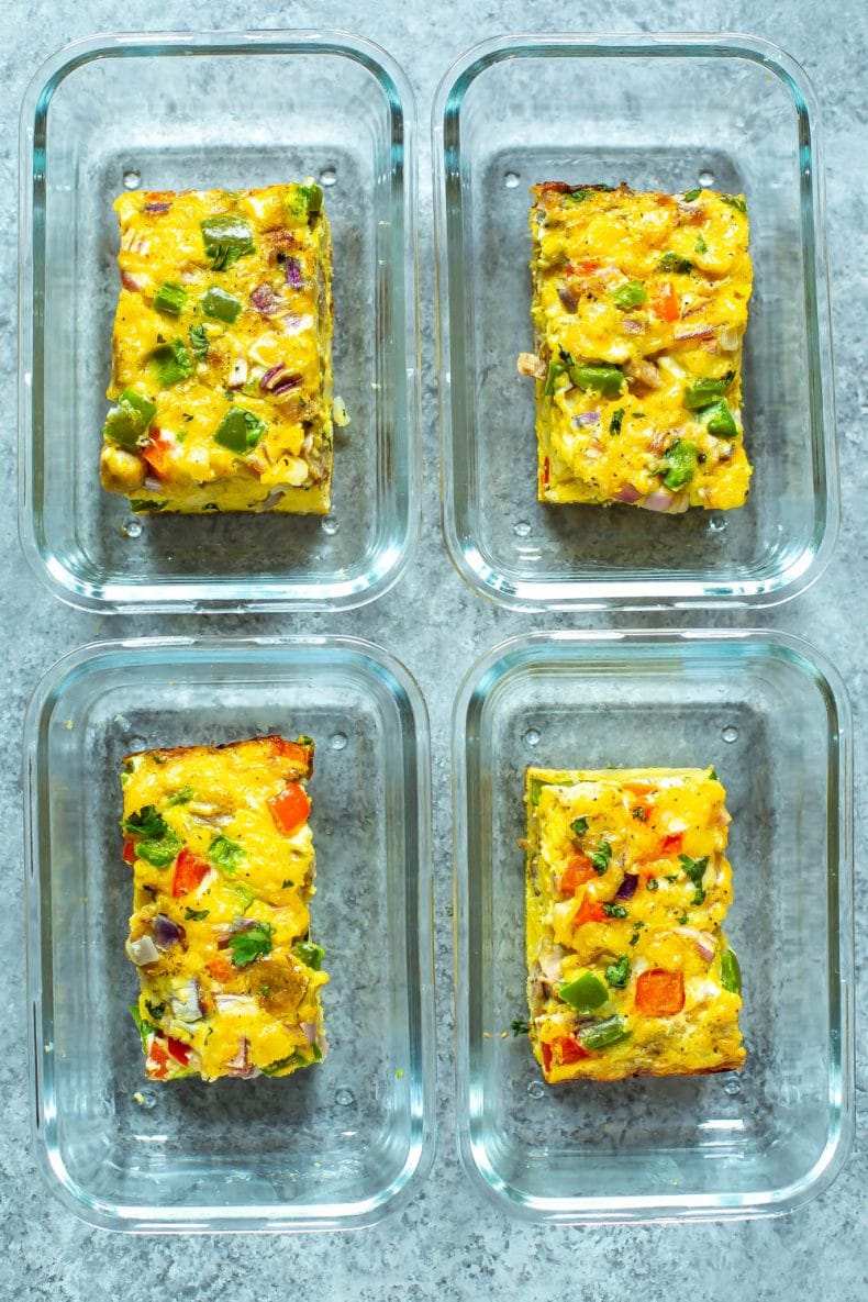 individual servings of egg casserole in meal prep containers