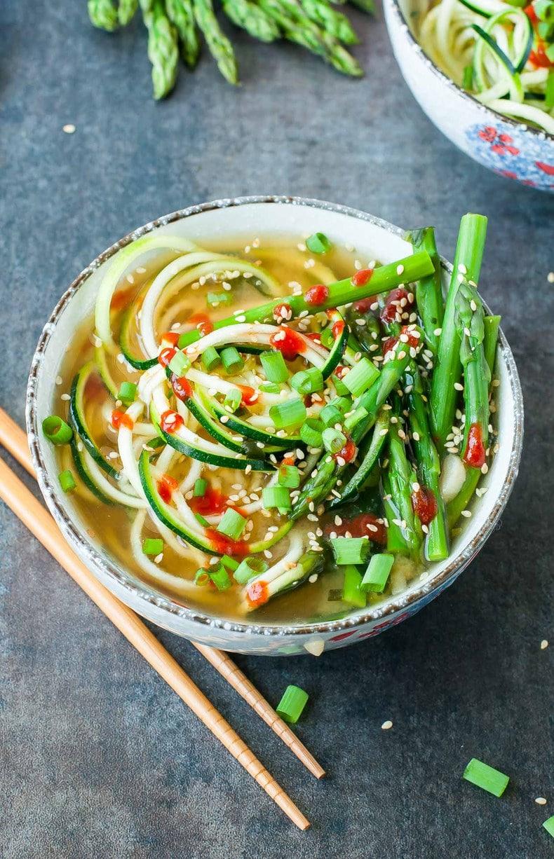 spicy sriracha zucchini noodle miso soup