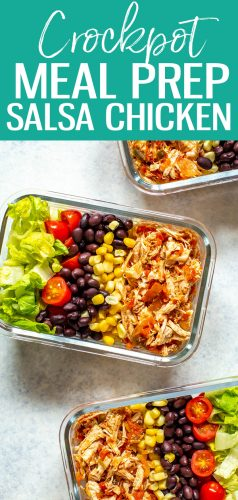 This Crockpot Salsa Chicken comes together with just TWO ingredients and is perfect for weekly meal prep. You can make tacos, burrito bowls, salads and more using this pulled chicken! #salsachicken #crockpot