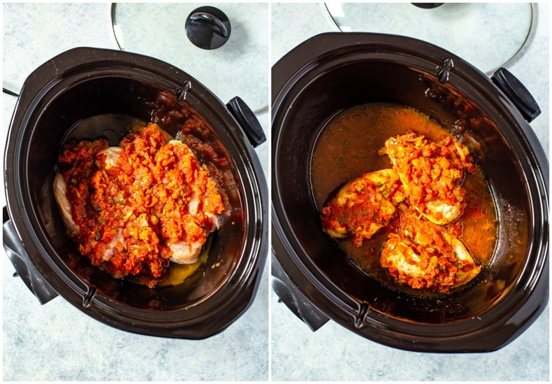 2-Ingredient Crockpot Salsa Chicken