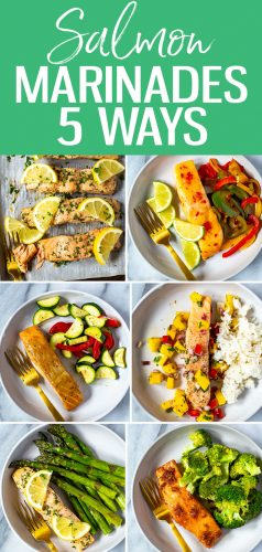 This Easiest Ever Baked Salmon Recipe is a foolproof formula for perfect salmon every time - plus 5 easy marinades to get you started, like honey garlic, maple dijon, chili lime, teriyaki and mango salsa! #salmonmarinades #bakedsalmon