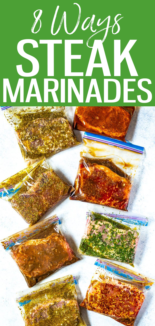 These 8 Best Ever Steak Marinades are perfect for freezer meal prep and each of the marinades only contain 5 easy ingredients that you probably already have in your pantry! #steakmarinades #mealprep