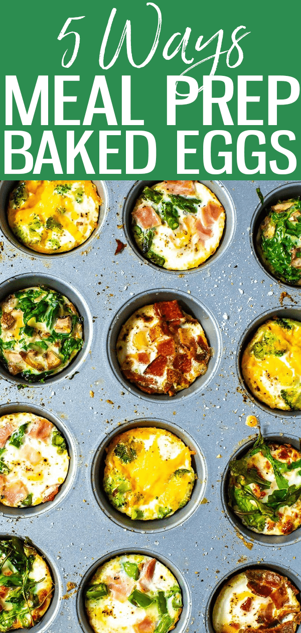 This oven baked eggs recipe shows how to bake eggs 5 ways. Flavors include ham and asparagus, broccoli cheddar and mushroom spinach. #bakedeggs #mealprep
