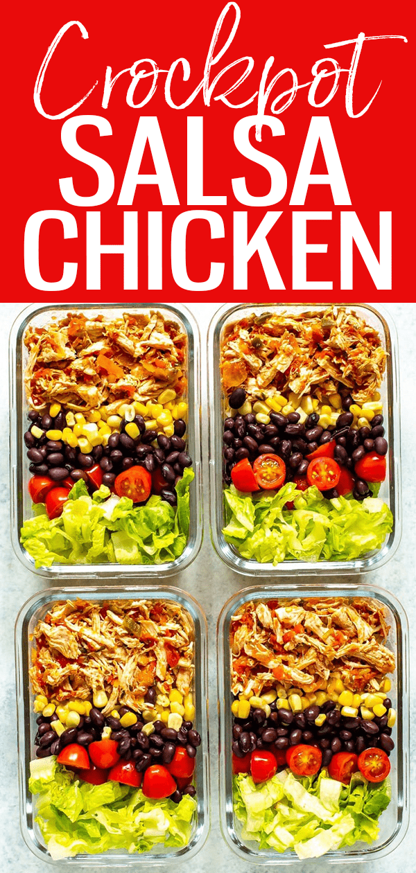 This Crockpot Salsa Chicken comes together with just TWO ingredients - you can use it to make tacos, burrito bowls, salads and more! #salsachicken #crockpot #mealprep