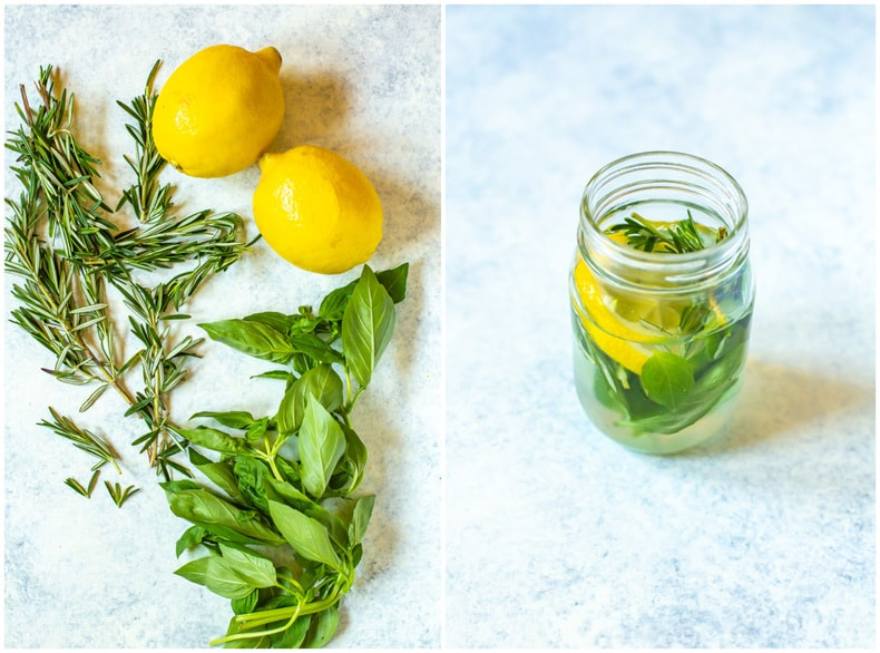 fresh lemons, rosemary, and basil on counter top