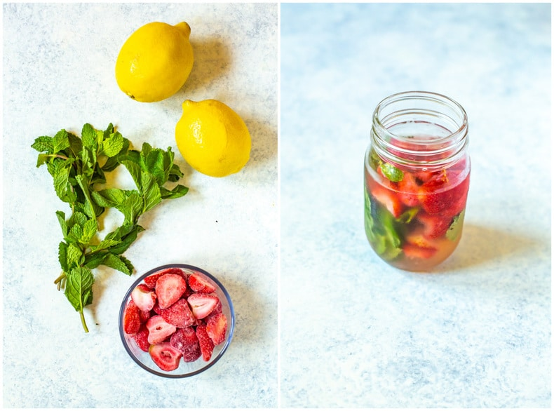 fresh strawberries, lemons, and mint to make flavored lemon water