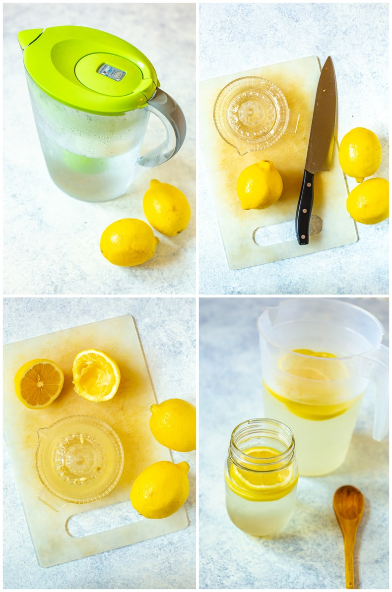 photo collage step by step images show how to make lemon water