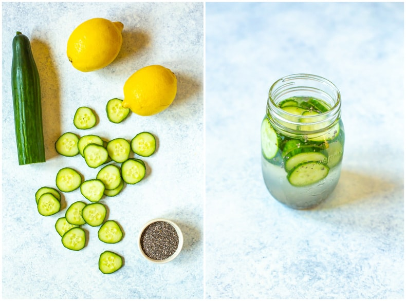 cucumber slices and lemons next to glass of cucumber lemon water