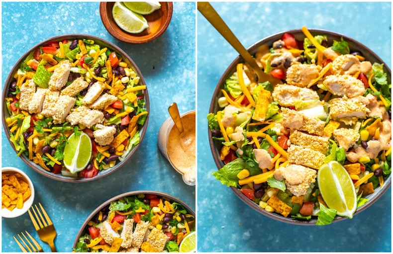 copycat version of McDonald's Southwest Salad with crispy chicken