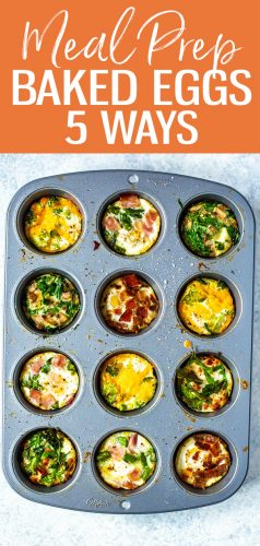 This oven baked eggs recipe will show you how to bake eggs in muffin tins in 5 different ways. Flavors include ham and asparagus, broccoli cheddar, mushroom spinach and more! #bakedeggs #mealprep #breakfast
