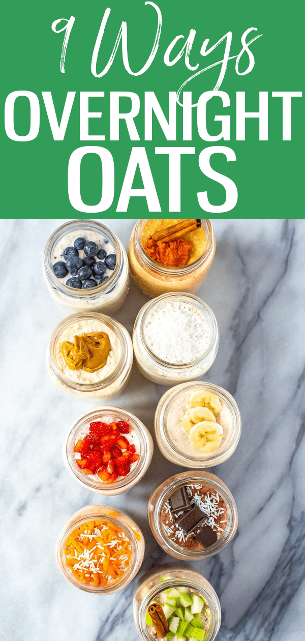 These Overnight Oats recipes are perfect for busy mornings when you don't have time for breakfast – try these 9 recipes to get get started! #overnightoats #masonjar #mealprep