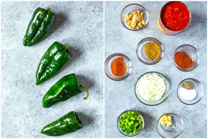 poblano peppers and ingredients to make a Chile Relleno recipe