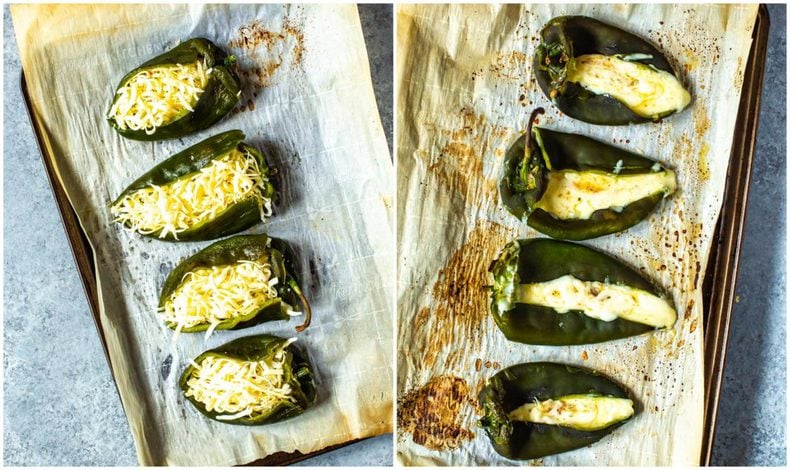 spicy green chili peppers stuffed with shredded cheese