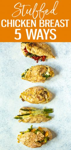 These 5 Delicious Stuffed Chicken Breast Recipes are the best way to eat chicken - there's broccoli cheddar, margherita, spinach artichoke, mushroom onion and asparagus provolone to choose from! #stuffedchicken #chickenbreast