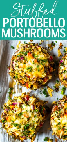 This Stuffed Portobello Mushrooms recipe is the BEST EVER way to stuff mushrooms! With shredded chicken, breadcrumbs, cheese and red peppers, this will become your go-to method. #stuffedportobellos #portobellomushrooms