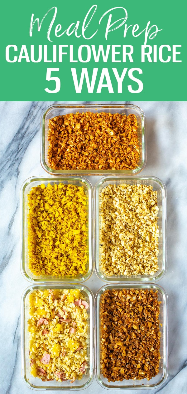 This post will show you how to create Cauliflower Rice 5 Ways - there are Cajun, Hawaiian, Greek, Indian and Asian flavours to brighten up this low carb side dish! #cauliflowerrice #mealprep #lowcarb