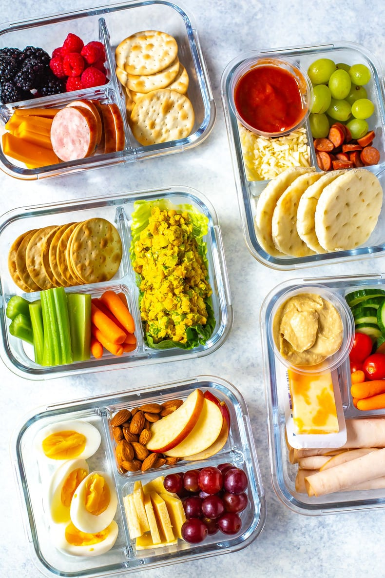 portable lunches with fresh fruit, vegetables, and deli meat