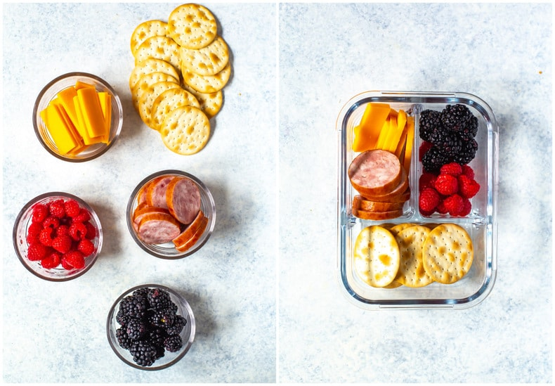 easy lunch idea - meat and cheese with crackers and fresh berries in meal prep container