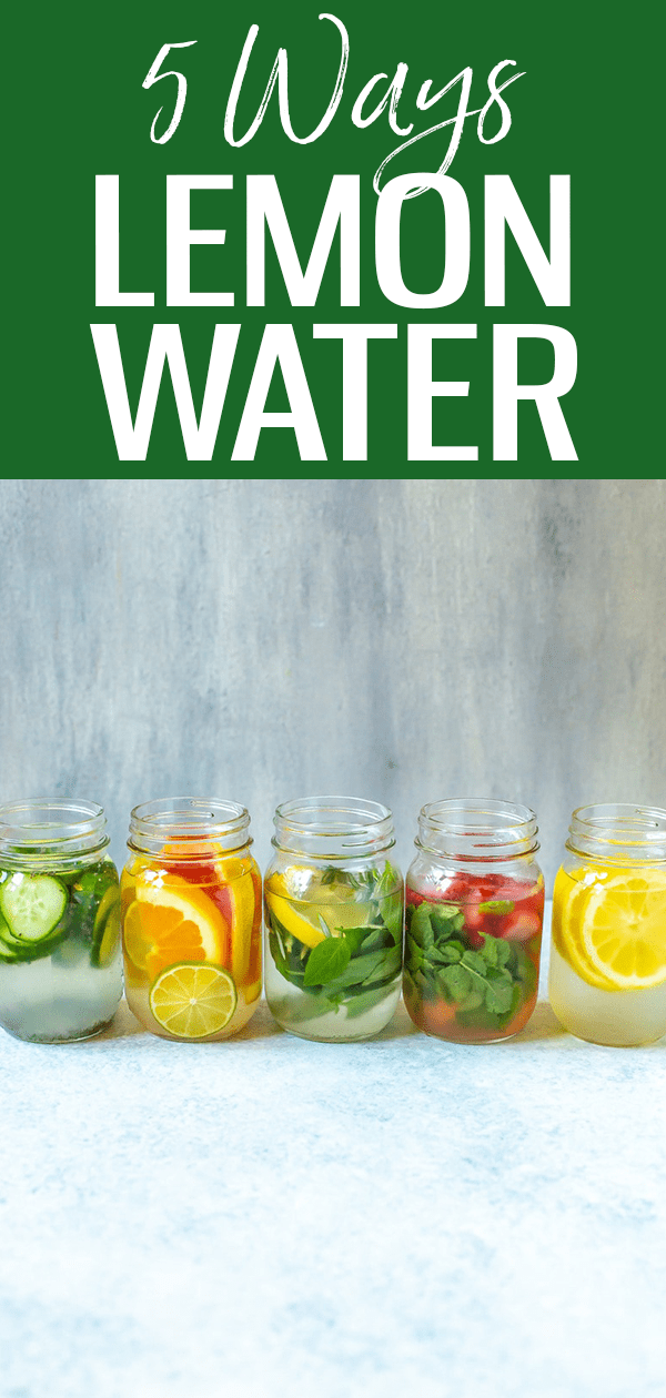 These 5 Lemon Water Recipes are the best way to start your day! From adding berries to fresh herbs, you'll learn about all the benefits. #lemonwater #waterinfusions