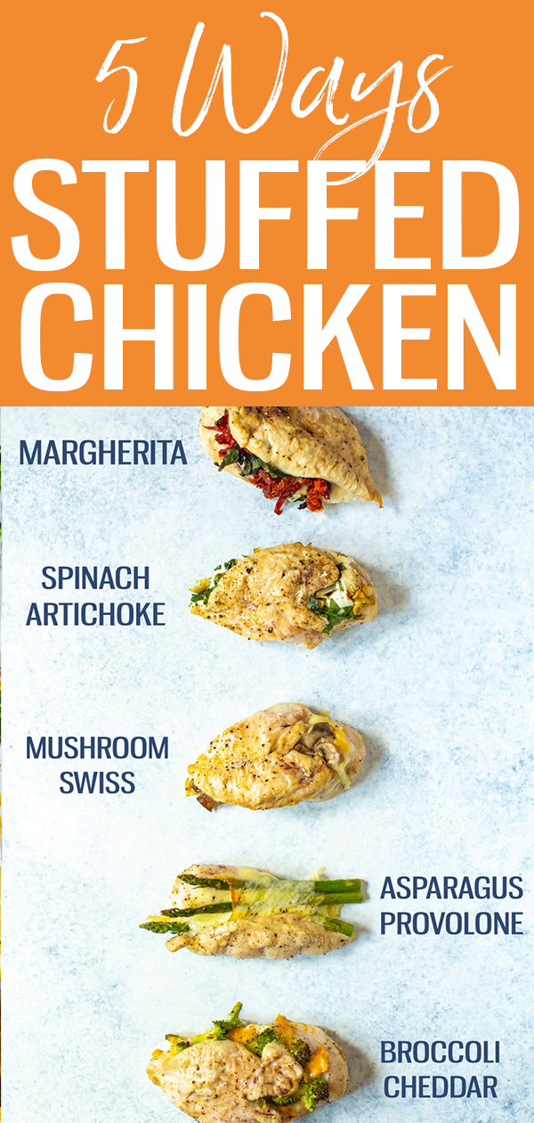 These Stuffed Chicken Breasts are INCREDIBLE! Try broccoli-cheddar, Margherita, spinach-artichoke, mushroom-onion or asparagus-provolone. #stuffedchicken #mealprep
