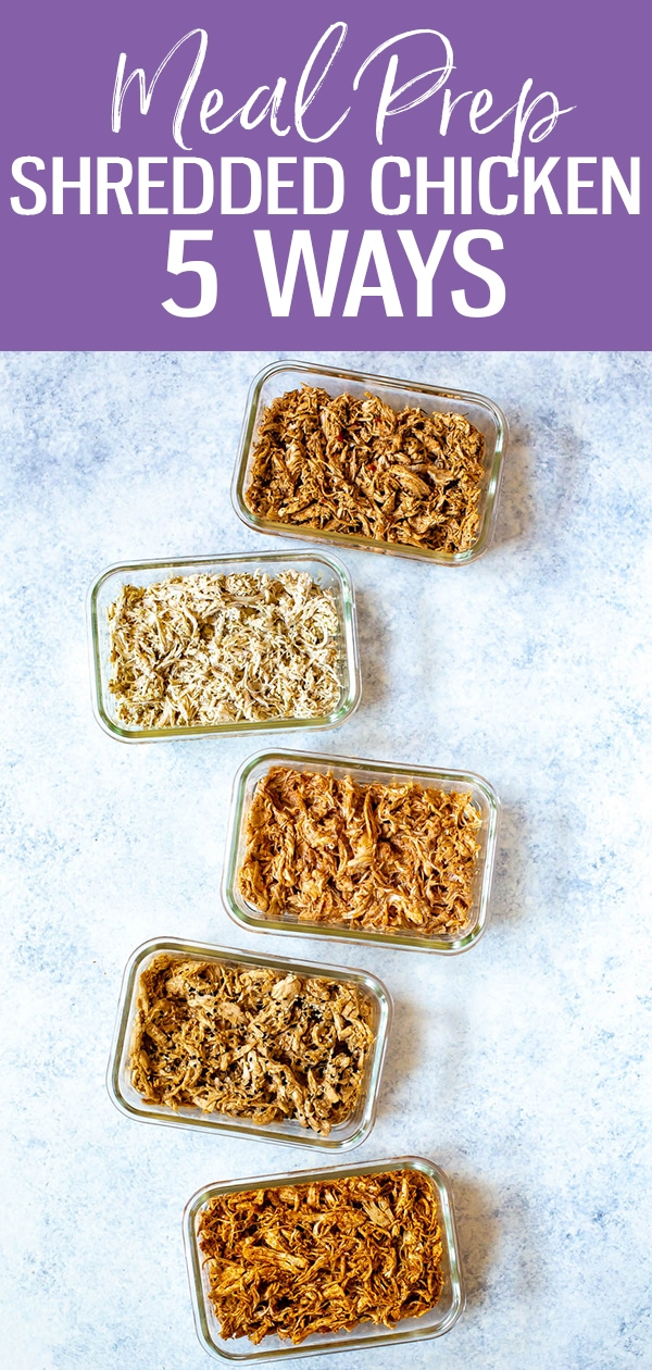 These Shredded Chicken Recipes are perfect for meal prep - I'm giving you 5 flavor combos to try, plus how to use shredded chicken in your day to day cooking. Try Mexican, Greek, BBQ and more! #shreddedchicken #mealprep