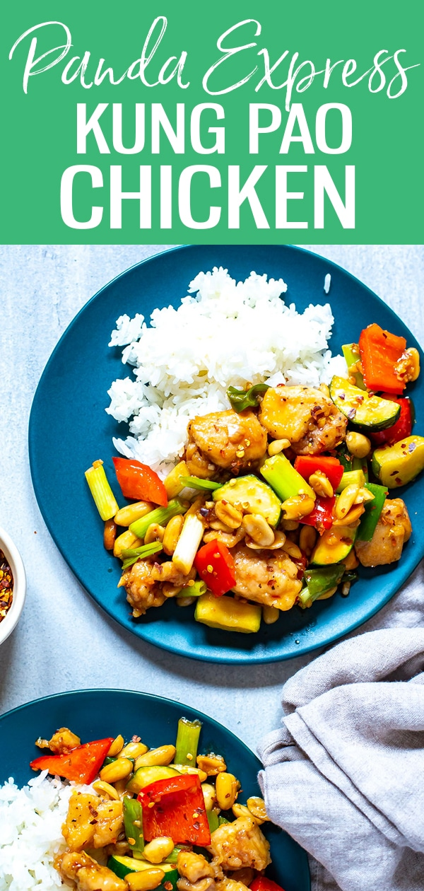 This Panda Express Kung Pao Chicken is a delicious restaurant copycat! This easy stir fry has a spicy garlic soy sauce, and is served with diced chicken thighs and mixed veggies. #kungpaochicken #mealprep #stirfry #pandaexpress