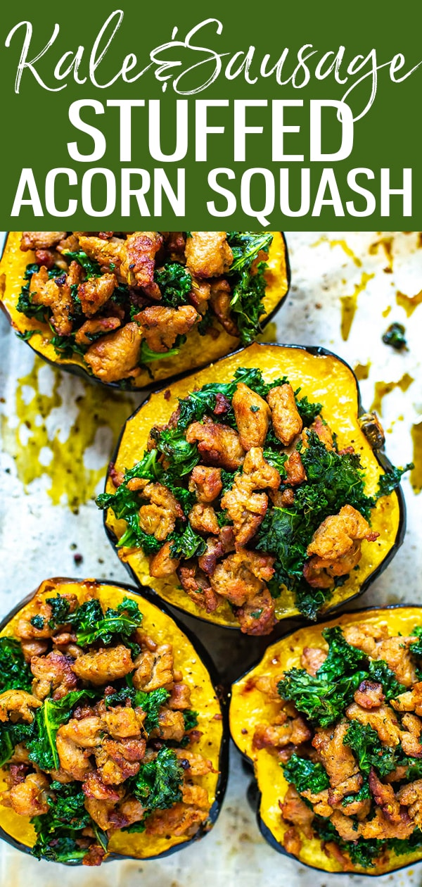 This Stuffed Acorn Squash is the easiest dinner idea, stuffed with just homemade turkey sausage and chopped kale. You'll love these comforting fall flavours! #acornsquash #fallrecipe #sttuffedsquash