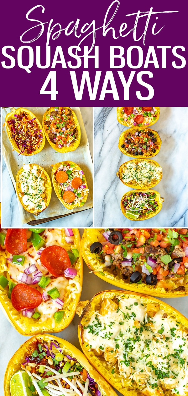 This post will show you How to Cook Spaghetti Squash with 4 different flavours - think pizza, pad Thai, chicken alfredo and taco spaghetti squash boats! #spaghettisquash #lowcarb #fallrecipes