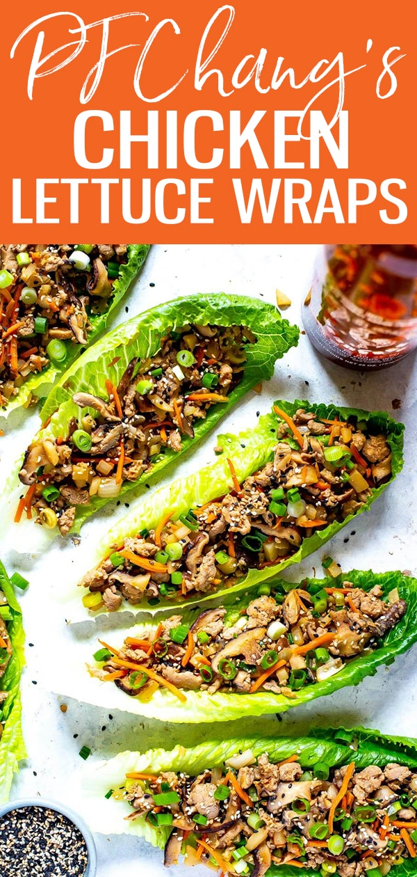 These PF Chang's Chicken Lettuce Wraps are a super easy copycat of the restaurant version - and they are also a healthy, low carb dinner idea! #pfchangs #lettucewraps #chicken