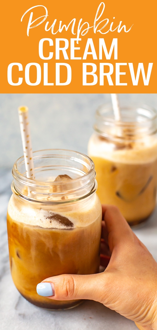 This Pumpkin Cream Cold Brew Coffee is a close copy cat of the Starbucks iced coffee recipe, and it's so perfect for fall. Bonus: it's got real pumpkin in it! #pumpkincream #coldbrew #icedcoffee #starbucks