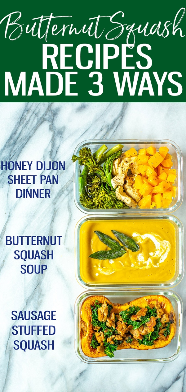 These Roasted Butternut Squash Recipes are perfect for fall! Try the roasted butternut squash soup, butternut sheet pan meal or stuffed squash halves. #butternutsquash #fallrecipe #squashsoup