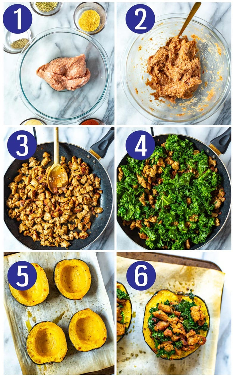 steps showing how to make an easy squash recipe