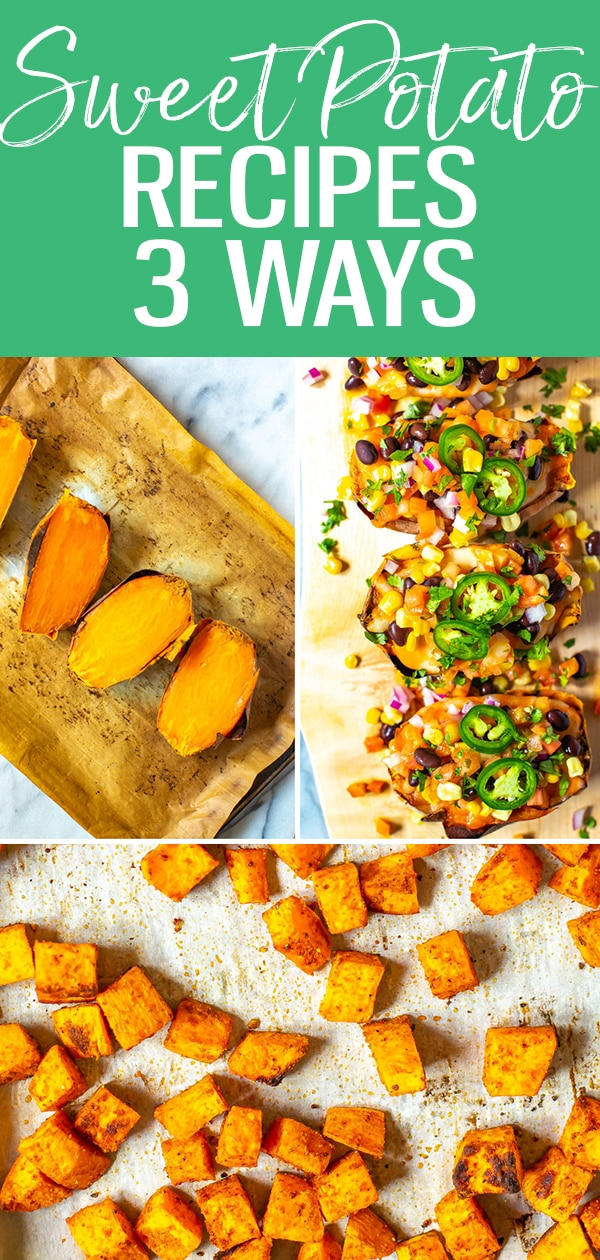 These Sweet Potato Recipes are healthy and delicious, and they are more than just a side dish. Try them 3 ways: mashed, fully loaded or baked in the oven! #sweetpotato #fallrecipes