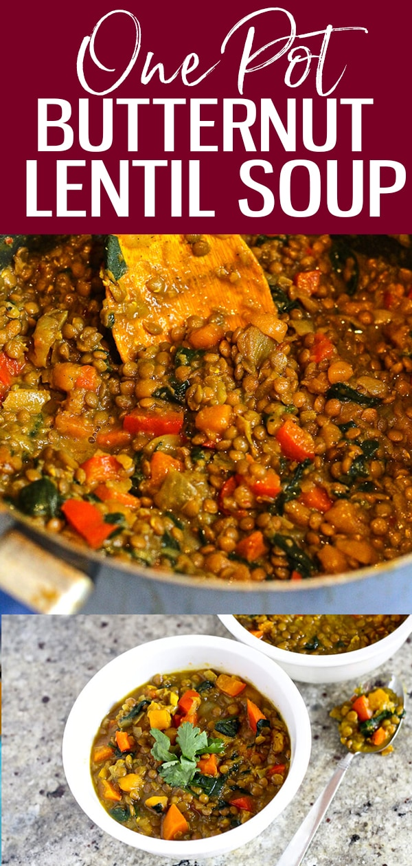 On a cold night, this Curried Butternut Squash and Lentil Soup hits the spot, especially if you are craving vegetarian comfort food with a kick! #butternutsquash #lentil #soup