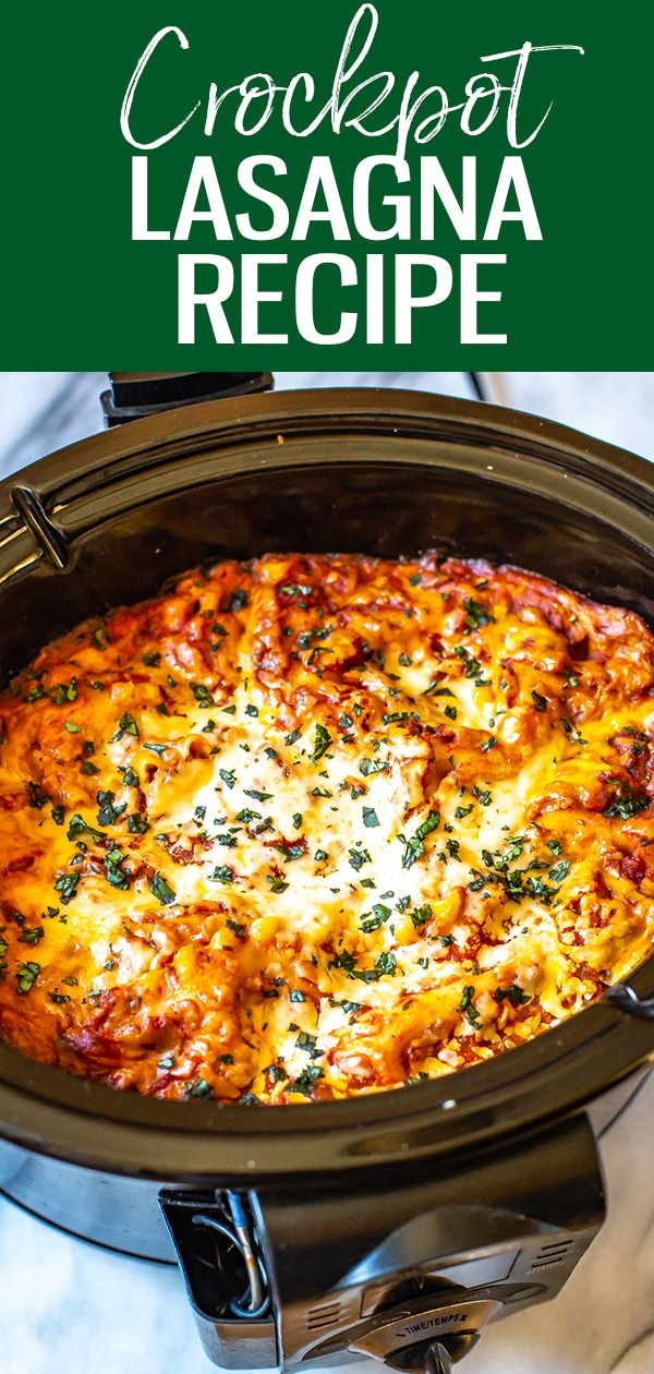 This is the easiest ever Crockpot Lasagna Recipe! Just brown the beef and onions, then add ricotta cheese, lasagna noodles and jarred tomato sauce. Cooks hands-off all day and is easy to assemble #crockpotlasagna #slowcooker