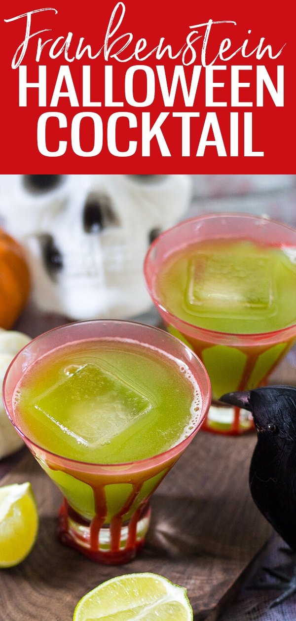 This Sour Frankenstein Cocktail is a fun party cocktail for Halloween. Don't let the green fool you: they're really just cucumber margaritas in disguise! #halloweencocktails #frankenstein