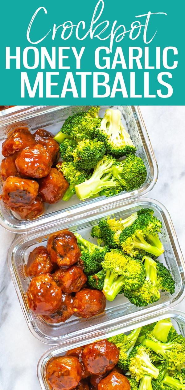 These Honey-Garlic BBQ Crockpot Meatballs are the perfect appetizer idea and come together with less than 10 ingredients - they're also great for meal prep! #crockpot #honeygarlic #meatballs